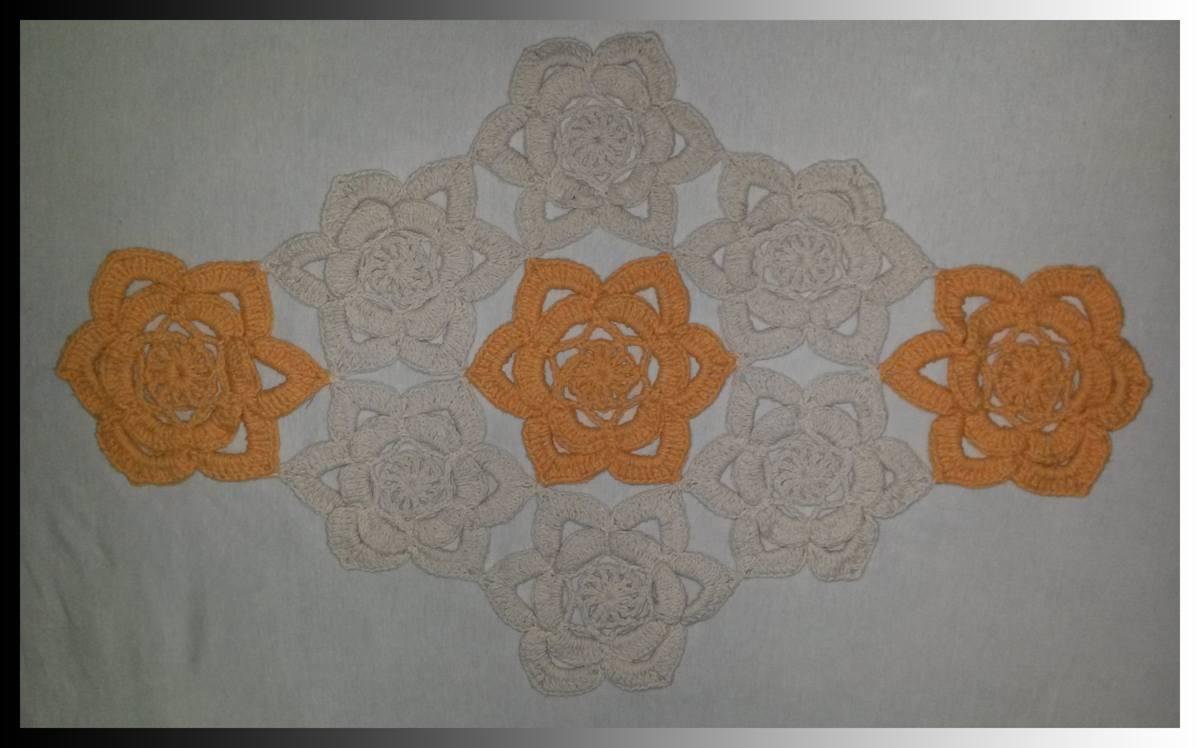 Tapete De Barbante Flores – Cru E Laranja